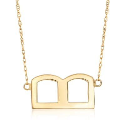 Sideways Block Single Initial Necklace in 18kt Yellow Gold Over Sterling