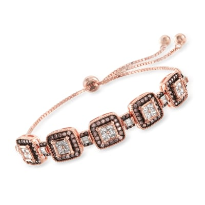 2.40 ct. t.w. Brown and White CZ Bolo Bracelet in 18kt Rose Gold Over Sterling