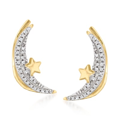 .10 ct. t.w. Diamond Crescent Moon and Star Ear Climbers in 14kt Yellow Gold