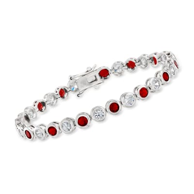 2.40 ct. t.w. CZ and 2.40 ct. t.w. Simulated Ruby Bezel-Set Tennis Bracelet