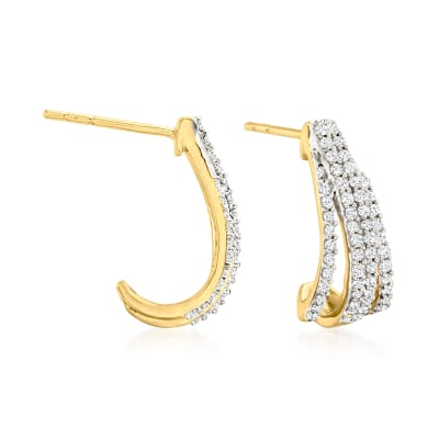 .50 ct. t.w. Diamond Open-Space Hoop Earrings in 18kt Gold Over Sterling