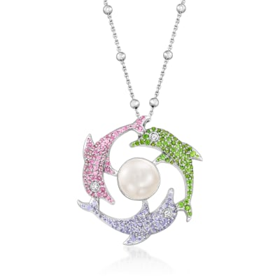 1.65 ct. t.w. Multi-Gemstone Dolphin Pendant Necklace in Sterling Silver