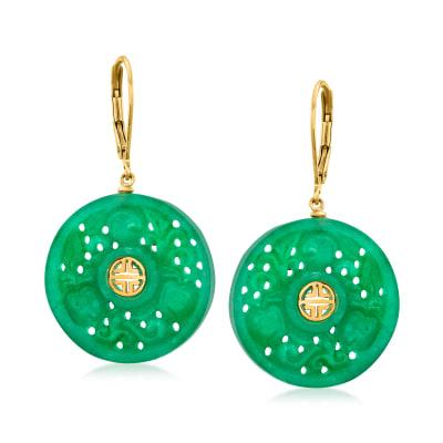 "Jade ""Longevity"" Chinese Symbol Drop Earrings in 18kt Gold Over Sterling"