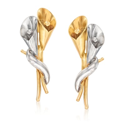 14kt Two-Tone Gold Calla Lily Earrings