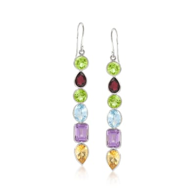 13.80 ct. t.w. Multi-Shaped Multi-Stone Drop Earrings in Sterling Silver