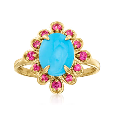 Turquoise and .20 ct. t.w. Pink Sapphire Ring in 14kt Yellow Gold