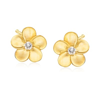 .10 ct. t.w. Flower Earrings in 14kt Yellow Gold
