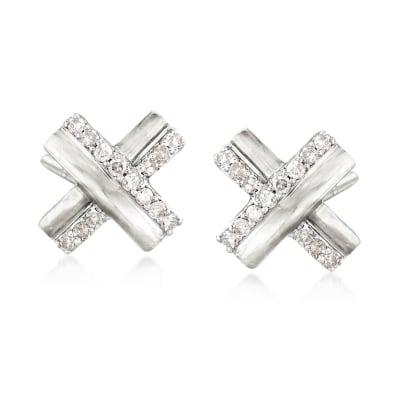 .10 ct. t.w. Diamond X Earrings in Sterling Silver
