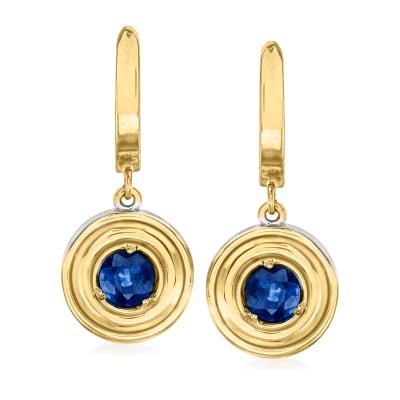 C. 1980 Vintage 1.00 ct. t.w. Sapphire Circle Drop Earrings in 14kt Two-Tone Gold