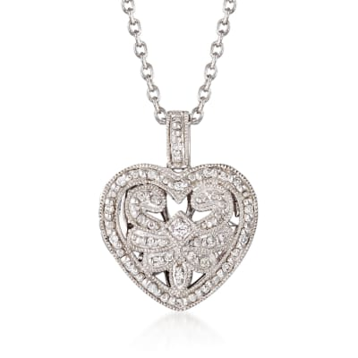 .20 ct. t.w. Diamond Fancy Heart Locket Necklace in Sterling Silver