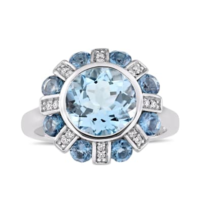 4.50 ct. t.w. Sky and London Blue Topaz Floral Ring in 14kt White Gold