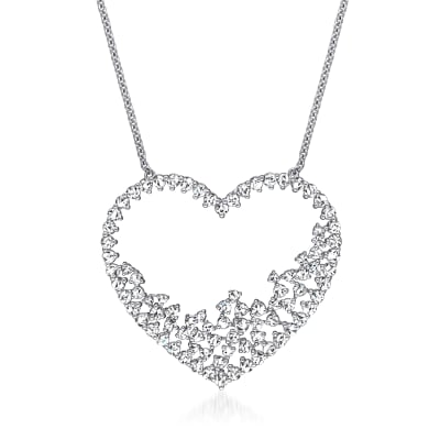 3.00 ct. t.w. Diamond Heart Necklace in 14kt White Gold