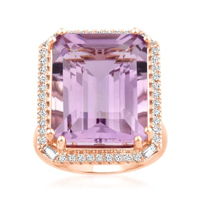 17.00 Carat Amethyst Ring with .35 ct. t.w. Diamonds and .10 ct. t.w. Champagne Garnets in 14kt Rose Gold