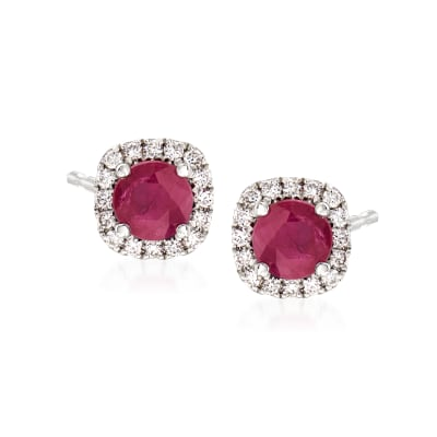 1.20 ct. t.w. Ruby and .25 ct. t.w. Diamond Earrings in 14kt White Gold