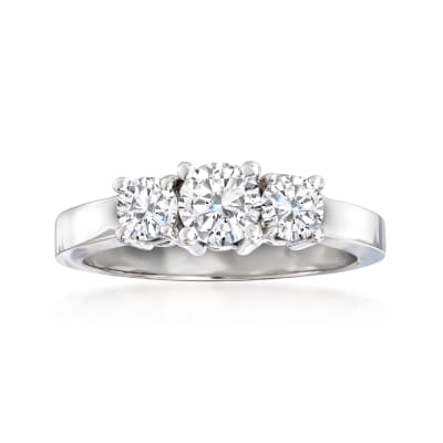 1.00 ct. t.w. Diamond Three-Stone Ring in 14kt White Gold