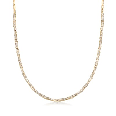 1.90 ct. t.w. Diamond Tapered Baguette Necklace in 14kt Yellow Gold