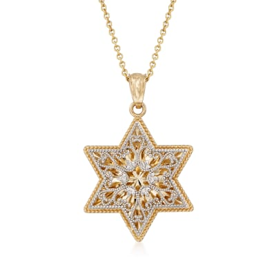 14kt Two-Tone Gold Star of David Pendant Necklace