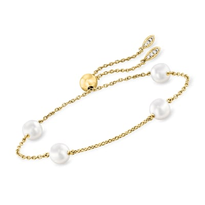 "Mikimoto ""Japan"" 7.5mm A+ Akoya Pearl Station Bolo Bracelet with Diamond Accents in 18kt Yellow Gold"