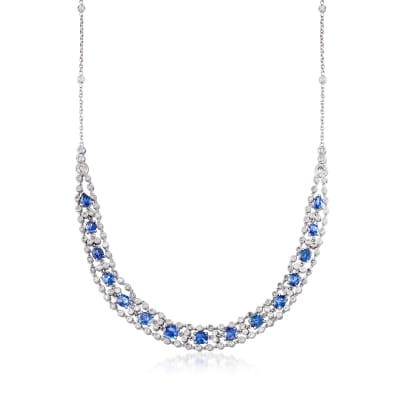 C. 1980 Vintage 9.30 ct. t.w. Sapphire and 3.75 ct. t.w. Diamond Necklace in 18kt White Gold