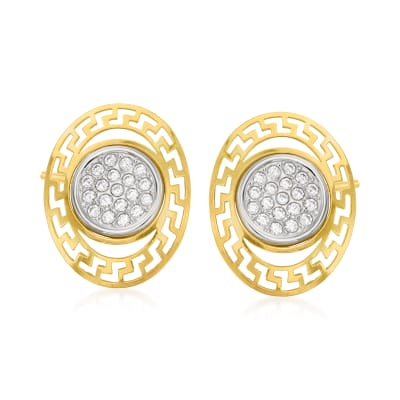 .10 ct. t.w. CZ Cut-Out Earrings in 14kt Two-Tone Gold