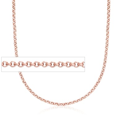 Belle Etoile 2mm 14kt Rose Gold Over Sterling Silver Rolo Chain