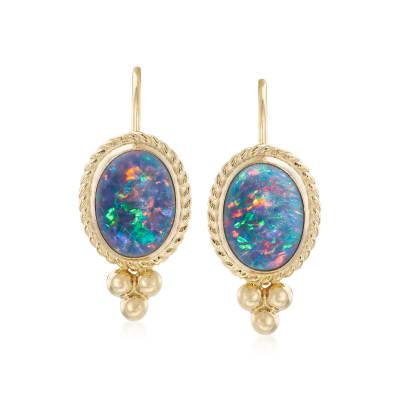 Blue Opal Triplet Drop Earrings in 14kt Yellow Gold