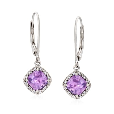 Diamond-Accented 1.70 ct. t.w. Amethyst Drop Earrings in Sterling Silver