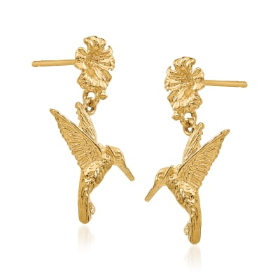 14kt Yellow Gold Hummingbird and Flower Drop Earrings