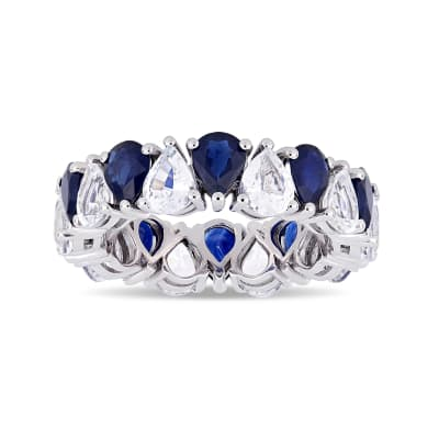 8.00 ct. t.w. White and Blue Sapphire Eternity Band in 14kt White Gold