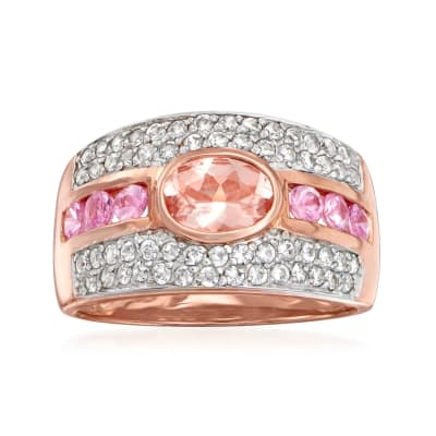 .80 Carat Morganite, .60 ct. t.w. White Zircon and .40 ct. t.w. Pink Sapphire Ring in 18kt Rose Gold Over Sterling