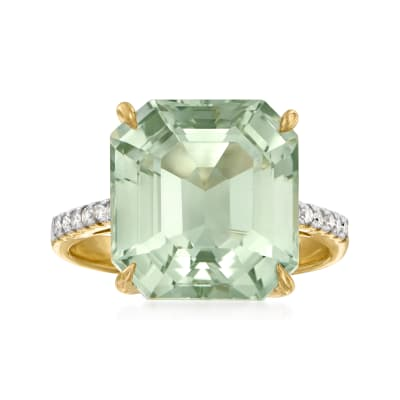 3.00 Carat Prasiolite and .12 ct. t.w. Diamond Ring in 14kt Yellow Gold