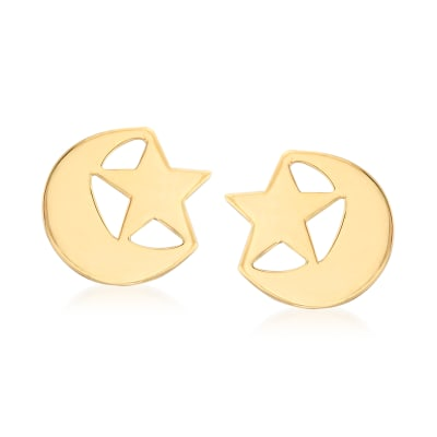 14kt Yellow Gold Star and Moon Earrings