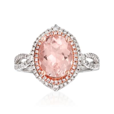 2.10 Carat Morganite and .34 ct. t.w. Diamond Ring in 14kt Two-Tone Gold