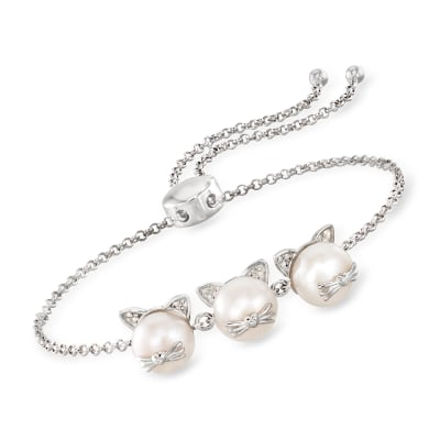 8-8.5mm Cultured Pearl Cat Bolo Bracelet with Diamond Accents in Sterling Silver