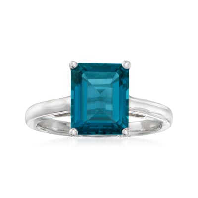 4.20 Carat Emerald-Cut London Blue Topaz Ring in Sterling Silver