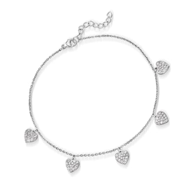 .55 ct. t.w. CZ Heart Anklet in Sterling Silver