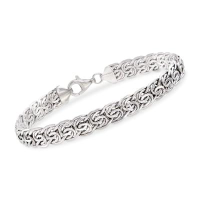 14kt White Gold Flat Byzantine Bracelet
