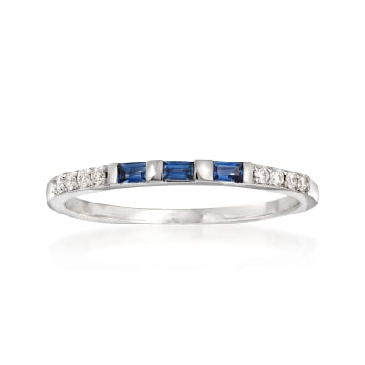 .10 ct. t.w. Sapphire and Diamond Accent Band in 14kt White Gold