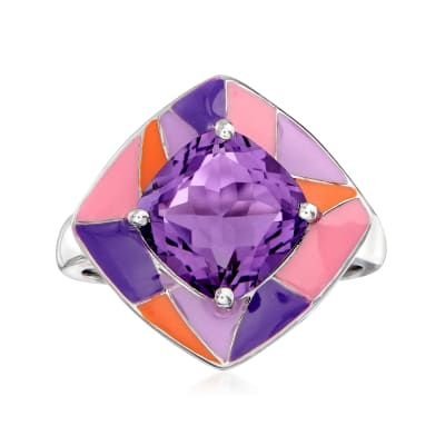 3.00 Carat Amethyst and Multicolored Enamel Ring in Sterling Silver