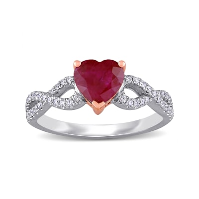 1.70 Carat Ruby and .23 ct. t.w. Diamond Infinity Heart Ring in 14kt Two-Tone Gold