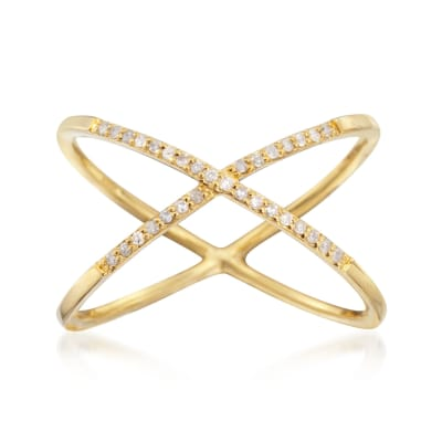 .10 ct. t.w. Diamond X Ring in 14kt Yellow Gold Over Sterling