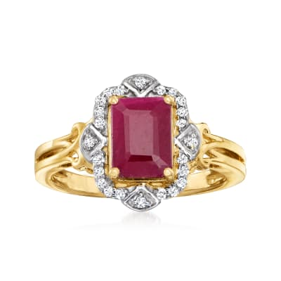 1.70 Carat Ruby and .11 ct. t.w. Diamond Ring in 14kt Yellow Gold