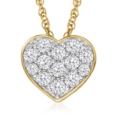 .50 ct. t.w. Diamond Heart Pendant Necklace in 18kt Gold Over Sterling