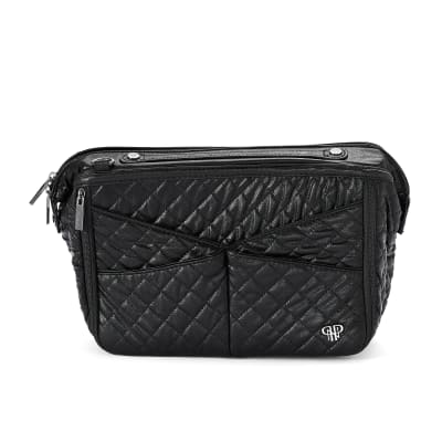 Pursen Littbag Lighted Faux Black Quilted Leather and Nylon Purse Organizer