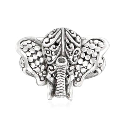 Sterling Silver Bali-Style Elephant Ring