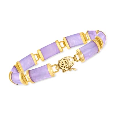 "Lavender Jade ""Good Fortune"" Bracelet in 18kt Gold Over Sterling"