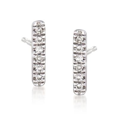 Diamond-Accented Linear Bar Earrings in Sterling Silver