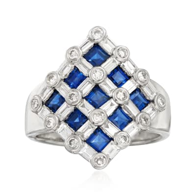 C. 1980 Vintage 1.58 ct. t.w. Sapphire and 1.25 ct. t.w. Diamond Checkerboard Ring in Platinum