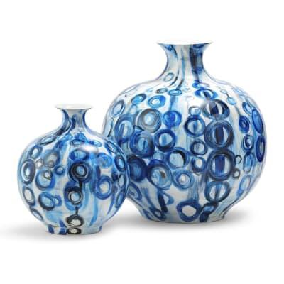 Set of 2 Blue Circle Porcelain Vases