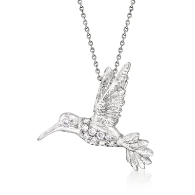 Roberto Coin Diamond-Accented Hummingbird Necklace in 18kt White Gold
